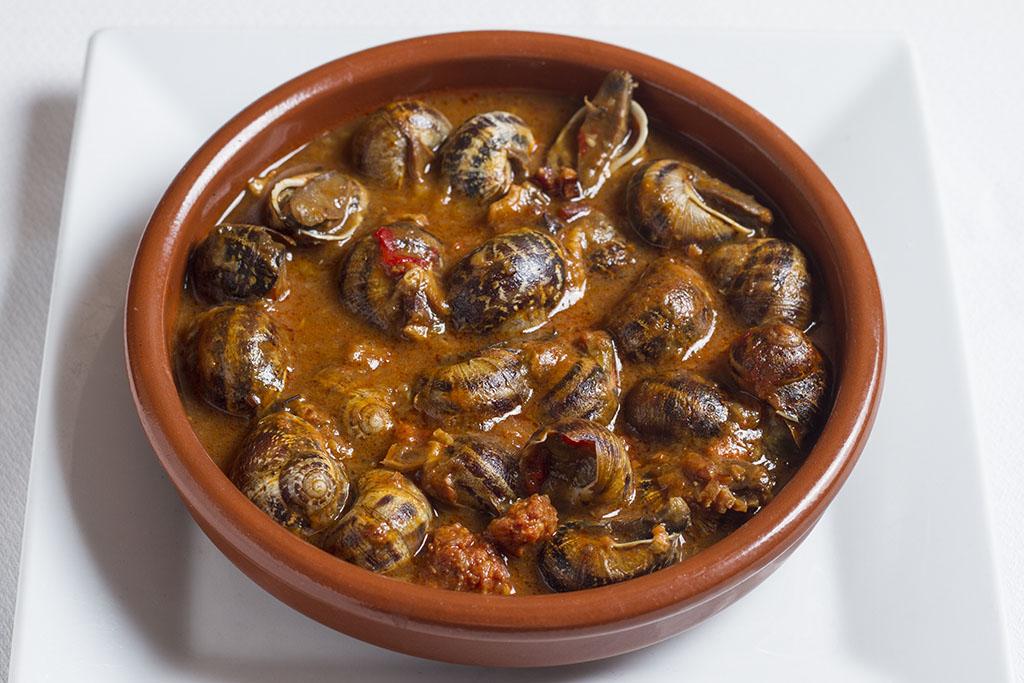 Tapa de caracoles del restaurante Carmen en Barcelona